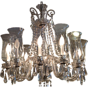 Superb Vintage Irish Crystal Chandelierw Hurricane Shades