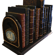 Antique Rosewood Book Stand w Wedgwood Blue Jasper Plaques