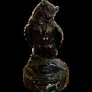 Rare Antique Bronze Bird Sculpture of an Owl Perched on Book