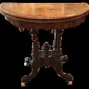Antique Burl Walnut Demilune Game Table