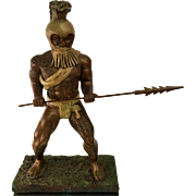 Unusual Hawaiian Warrior Bronze Male Semi-Nude Sculpture