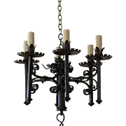Superb Antique 19th C French Wrought Iron Chandelier
