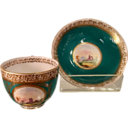 Antique Hand Painted Scenic Porcelain Cup & Saucer