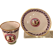 Antique Hand Painted Scenic Porcelain Cup & Saucer by Richard Ginori