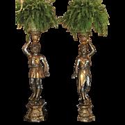 Pair of Huge Venetian Gilt-Wood Designer Blackamoor Plant Stands / Lamps