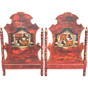 Pair of Antique Twin Bed Headboards With Armorial Heraldic Crests