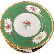 Set of 8 19C Antique Cauldon Porcelain Plates w Green Border