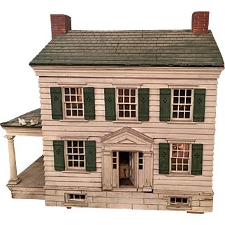 Antique American Colonial Doll House w Furnishings