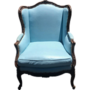 Antique French Louis XV Style Wing Back Chair w Blue Leather