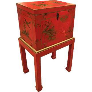 Red Chinoiserie Chest Box on Stand Table Italy