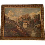 Antique French Landscape Oil Painting w Castle & Man Fishing No Reserve
