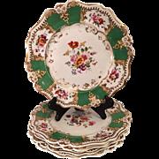 Set of 4 Antique English Porcelain Plates - Elrington & Dundee London c.1823