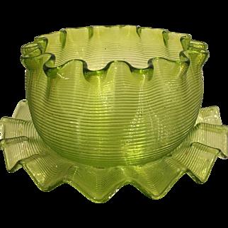 Rare Antique Venetian Threaded Glass Bowl & Plate - Chartreuse