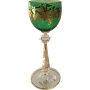 Antique Moser Austrian Green & Gold Cut Glass Wine Stem