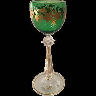 Antique Moser Austrian Green & Gold Cut Glass Wine Stem