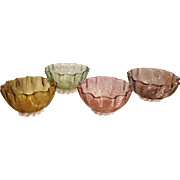 Set Of 4 Antique Venetian Threaded Glass Nut Bowls