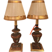 Pair of Antique Italian Gilt-wood Petit Candlestick Lamps