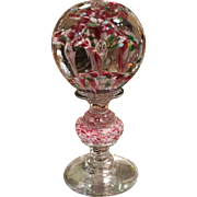 Unusual Antique Art Glass Finial Orb Paperweight Wig Stand