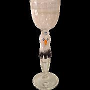 Superb Signed Heron Studio Glass Bird Goblet