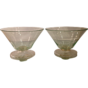 Pair of Antique Green & Gold Venetian Glass Bowls