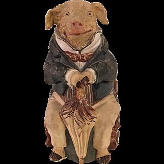 Rare Antique Johann Maresch Terra-cotta Pottery Humidor Tobacco Jar - Piggy