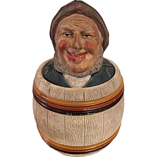 Rare Antique Johann Maresch Terra-cotta Pottery Humidor Tobacco Jar - Fisherman