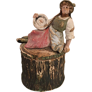 Rare Antique Johann Maresch Terra-cotta Pottery Humidor Tobacco Jar - Maiden