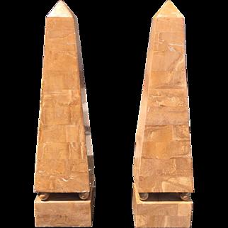 Huge Pair of Regency Style Sienna Marble Obelisks