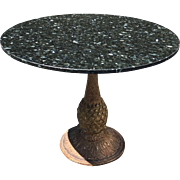 Hollywood Regency Style Painted Iron & Granite Top Round Bistro Breakfast Table