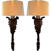 Pair of Spectacular Designer Acanthus Leaf Designer Wall Light Sconces