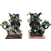 Pair of Huge Antique Chinese Pottery Foo Dogs