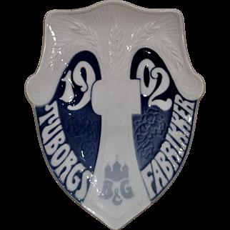 1902 Tuborgs Fabrikker Beer Advertising Porcelain Bowl by B & G