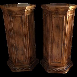 Pair of Classical Designer Hexogonal Pedestals