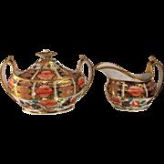 Early Antique Hand Painted Old Coalport Porcelain Cream & Sugar Imari