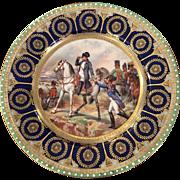 Rare Antique Capodimonte Porcelain Cabinet Plate - Napoleon Bataille de Wagram