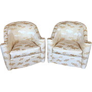 Mid-Century Modern Barrel Club Chairs - A Pair