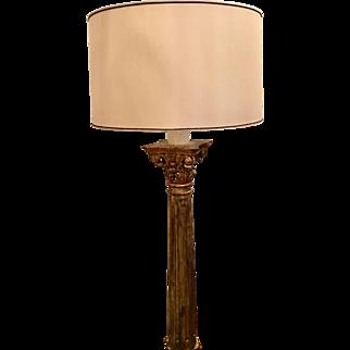 Antique 18th C Giltwood Column Designer Floor Lamp