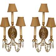 Paul Ferrante Gilt Metal & Austrian Crystal Wall Light Sconces