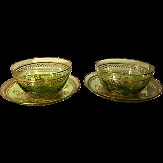 Superb Set of 2 Antique St Louis Chartreuse & Gold Crystal Bowls & Plates