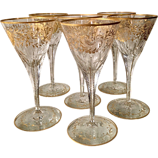 Set of 6 Antique Baccarat Gold Crystal White Wine Cocktail Stems