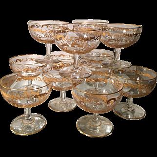 Superb Set of 12 Antique St Louis Gold Crystal Intermezzo Stems