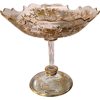 Antique Baccarat Gold Crystal Compote w Fancy Rim & Stem