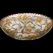 Antique Baccarat Intaglio Cut Crystal Bowl w Iris Decoration
