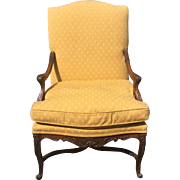 Antique 19th C French Provincial Arm Chair w Yellow Woven Fabric