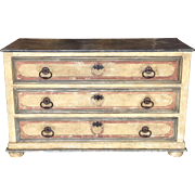 Superb Antique Italian Paint Decorated Commode Chest of Drawers Tuscany