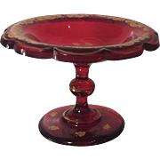 Unusual Antique Red & Gold Bohemian Glass Bowl