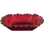 Unusual Antique Red & Gold Bohemian Glass Bowl w Scalloped Rim