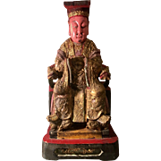 Antique Chinese Polychrome Carved Wood Figure of a Deity