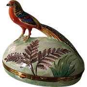 Rare Limoges Hand Painted Porcelain Box w Bird Finial