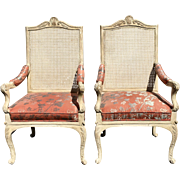 Pair of Gina B Designer Painted Decorated Art Chairs w Pink Silk Damask